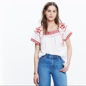Madewell boho white embroidered flower blouse